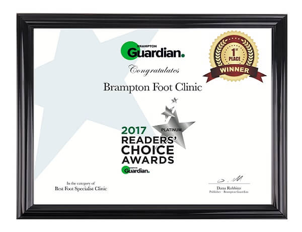 Brampton Foot Clinic Readers Choice Award Winner 2017